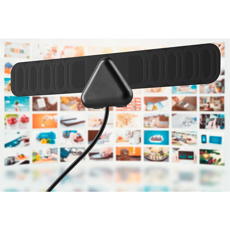 25 Mile Electronic TV Antenna , Mini Flat Portable Digital Antenna HD 30dBi Gain